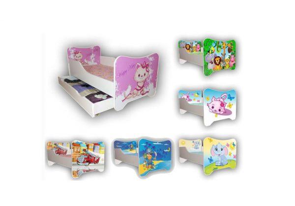 Łóżko dziecięce 140 x 70 szuflada, motywy bajkowe 1