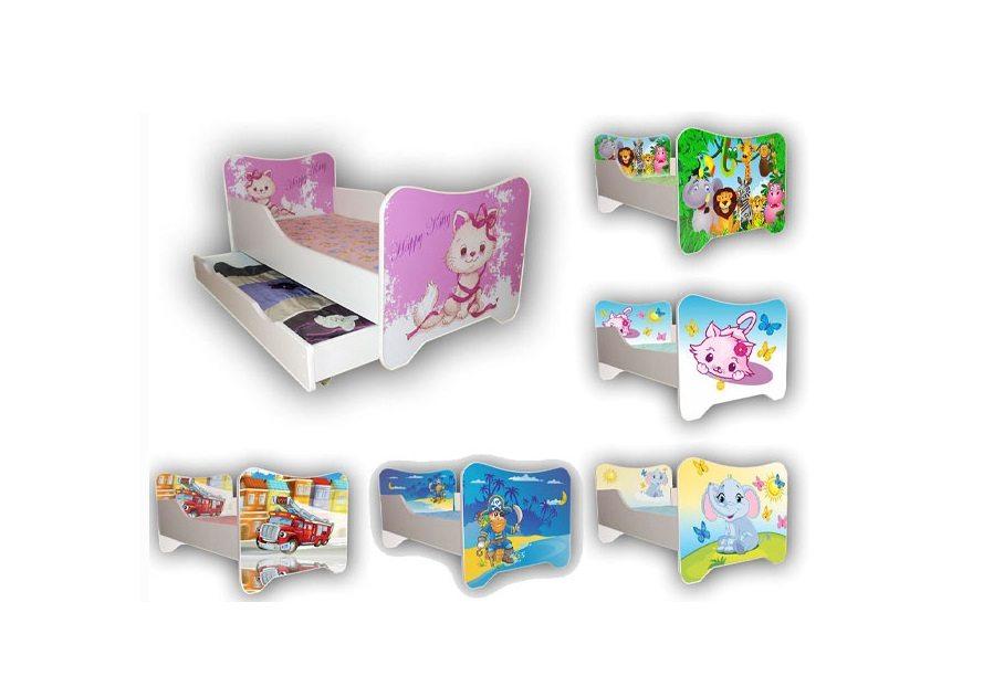 Łóżko dziecięce 140 x 70 szuflada, motywy bajkowe 9