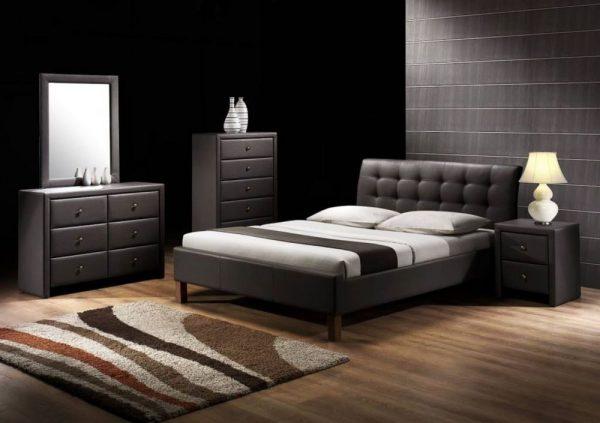 SAMARA 160 - łóżko tapicerowane czarne / białe 1