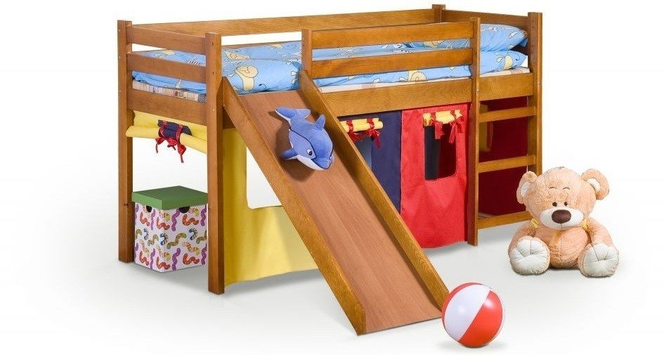 Łóżko ze zjeżdżalnią i materacem NEO PLUS kolor olcha 18