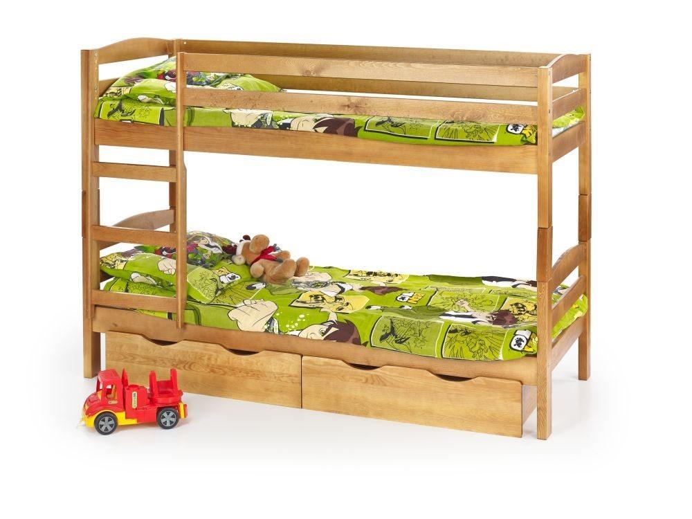 Łóżko drewniane piętrowe z materacami SAM kolor sosna 4