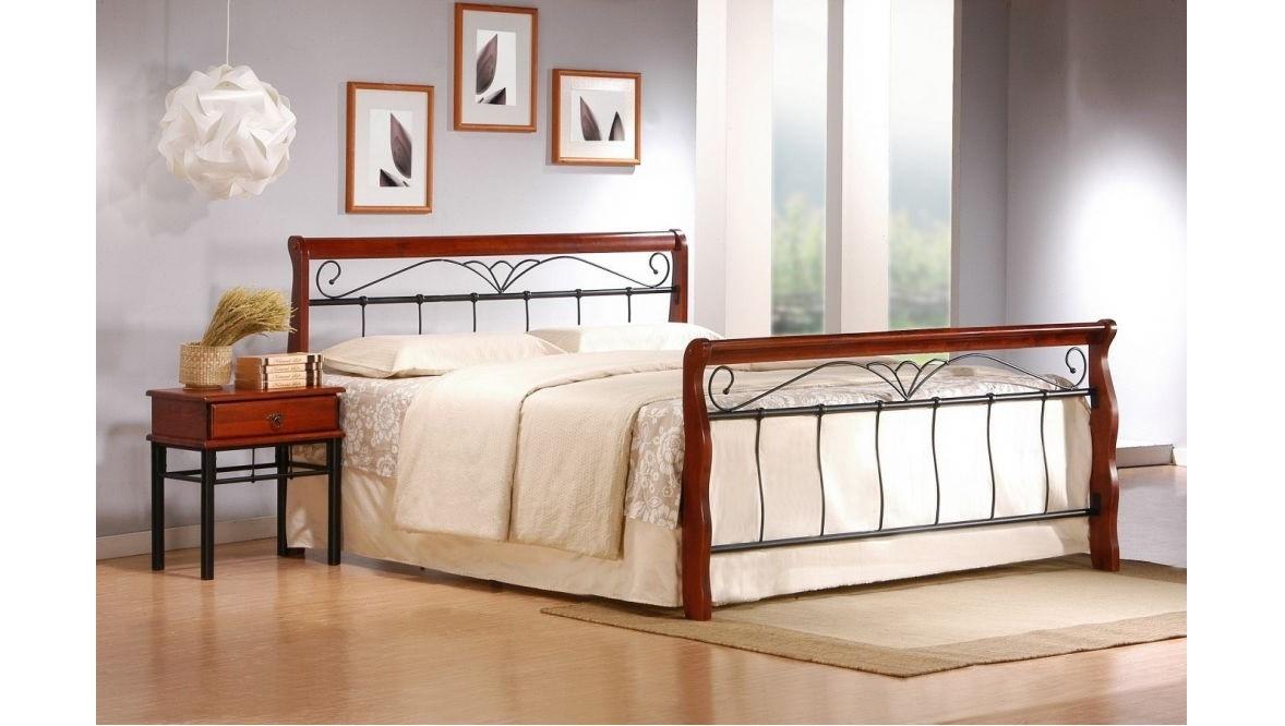 VERONICA 180 - łóżko metalowe + drewno antyczna czereśnia 3