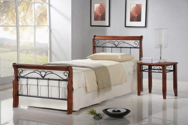VERONICA 90 - łóżko metalowe + drewno antyczna czereśnia 1
