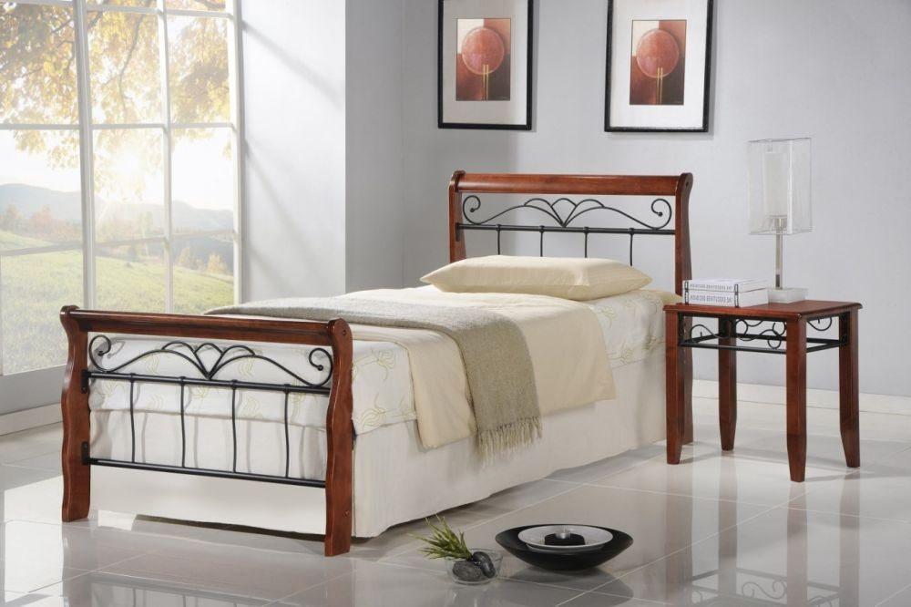 VERONICA 90 - łóżko metalowe + drewno antyczna czereśnia 9