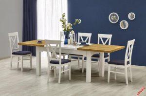 LEONARDO - stół rozkładany biel + dąb miodowy 2