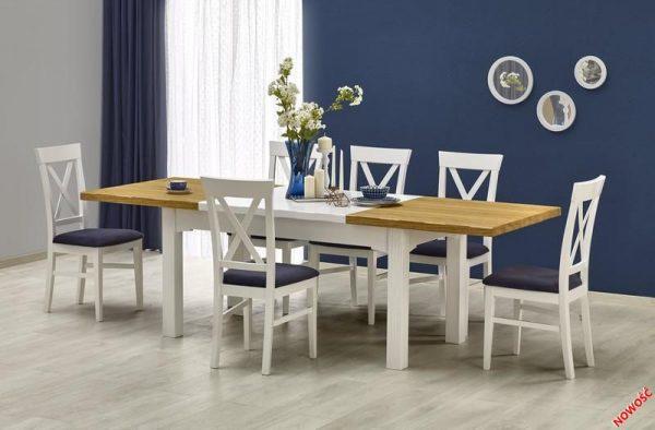 LEONARDO - stół rozkładany biel + dąb miodowy 1