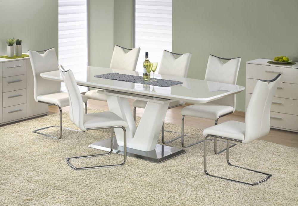 MISTRAL - stół rozkładany biały połysk 2