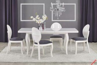 MOZART stół rozkładany w stylu glamour biały połysk 5