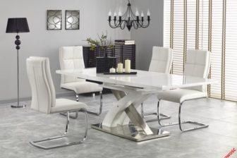 SANDOR 2 - duży rozkładany stół do salonu biały połysk 9