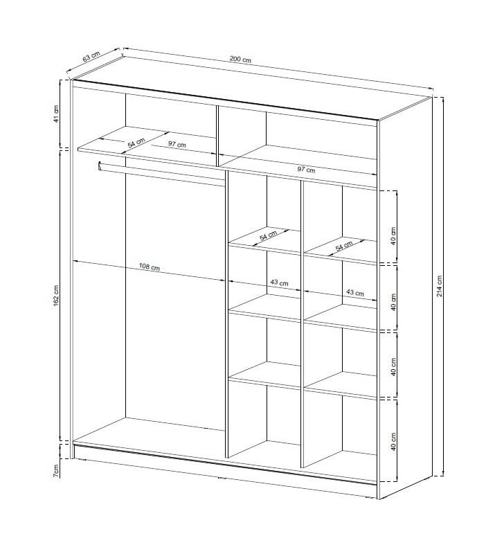 MIXA 2/200 – duża szafa przesuwna z lustrem KOLOR BIAŁY/SONOMA 6