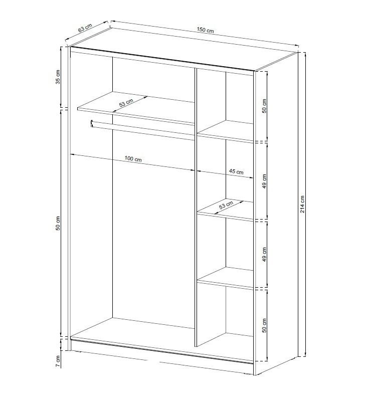 MIXA 2/150 – duża szafa przesuwna z lustrem KOLOR BIEL/SONOMA 6