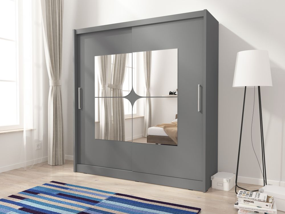 GAJA 7/200 – duża szafa przesuwna z lustrem KOLOR BIAŁY/SONOMA/GRAFIT 2