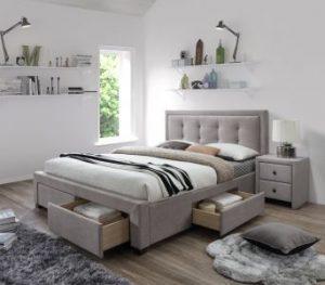 EVORA 160 - łóżko tapicerowane beżowe z szufladami 3