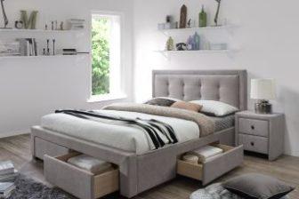 EVORA 160 - łóżko tapicerowane beżowe z szufladami 4