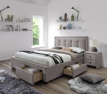 EVORA 160 - łóżko tapicerowane beżowe z szufladami 1
