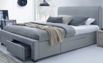 MODENA 160 - łóżko tapicerowane z szufladami szare 9