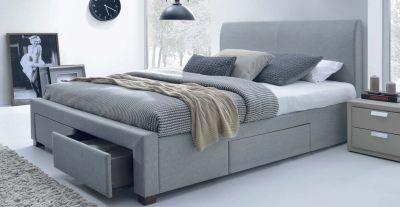 MODENA 160 - łóżko tapicerowane z szufladami szare 1