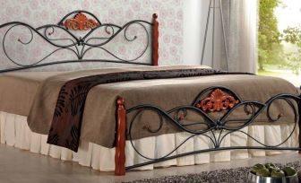 VALENTINA 160 - łóżko metalowe + drewno antyczna czereśnia 6