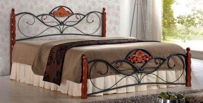 VALENTINA 160 - łóżko metalowe + drewno antyczna czereśnia 1