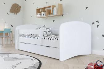 KIDS - łóżko łóżeczko bez wzoru 80x180 z szufladą i barierką 21