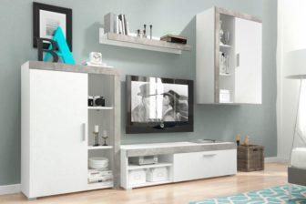 OLIWIA - meblościanka RTV biały + beton 5