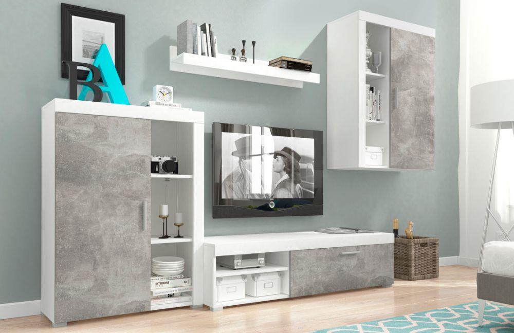 OLIWIA - meblościanka RTV biały + beton 2