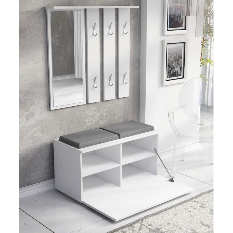 OLA - garderoba z siedziskiem biała 2