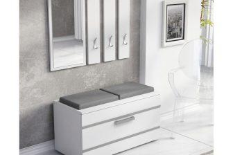 OLA - garderoba z siedziskiem biała 4