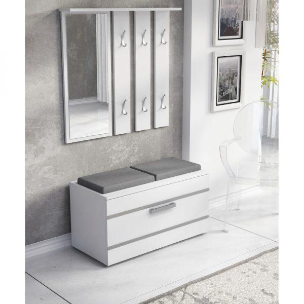 OLA - garderoba z siedziskiem biała 1