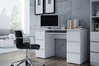 MODERN NEW - biurko białe sonoma beton dąb artisan 60