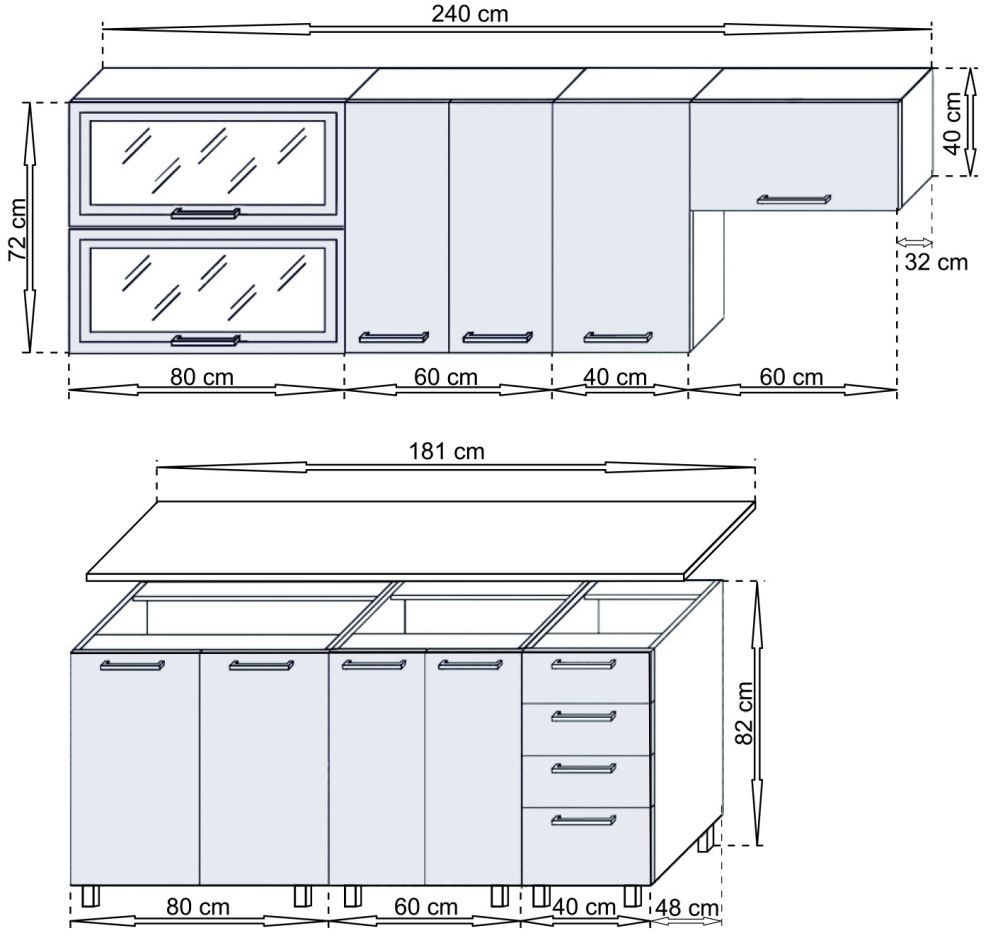 ANJA - meble kuchenne do małej kuchni 2,4m 3