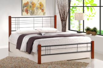 VIERA 160 - łóżko metalowe + drewno antyczna czereśnia 71