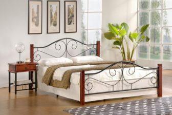 VIOLETTA 120 - łóżko metalowe + drewno antyczna czereśnia 7