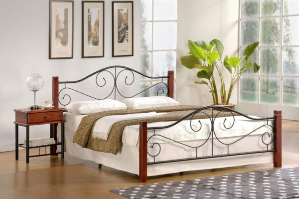 VIOLETTA 120 - łóżko metalowe + drewno antyczna czereśnia 1