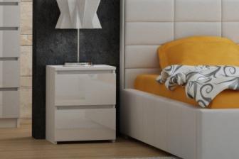 Szafka nocna MALVINE W2  biel+biel połysk 1
