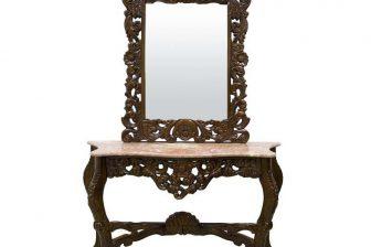 Toaletka w stylu glamour z rzeźbionym lustrem MILORD 4