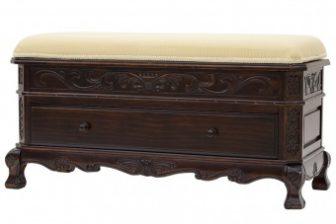 Klasyczna rzeźbiona ławka z siedziskiem i schowkiem na buty ALTER PLUS mahoń 7