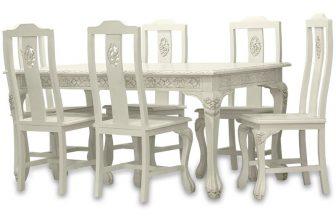 Stylowy rzeźbiony stół z krzesłami ALTER biel 21