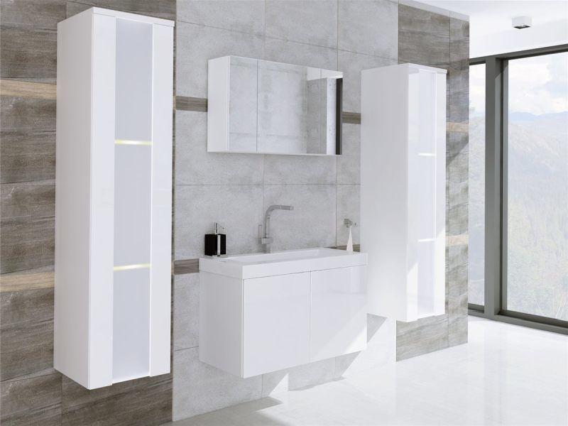 CERTO - meble łazienkowe białe połysk efekt lustrzany 2