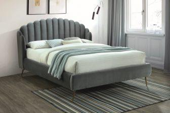 CALABRIA 160 - łóżko tapicerowane z zagłówkiem szare 38