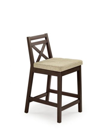 BORYS LOW krzesło barowe niskie ciemny orzech / tap. Vila 2 1