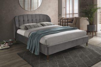 LIGURIA 160 - łóżko tapicerowane z zagłówkiem szare 41