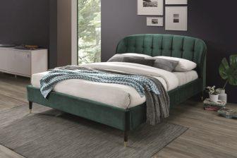 LIGURIA 160 - łóżko tapicerowane z zagłówkiem zielone 42