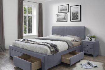 MODENA 3 160 - łóżko tapicerowane z szufladami szare 46