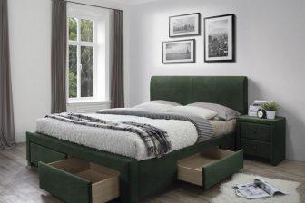 MODENA 3 160 - łóżko tapicerowane z szufladami zielone 47