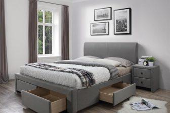 MODENA 140 cm łóżko tapicerowane z szufladami popiel 11
