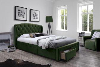 SABRINA 160 - łóżko tapicerowane z szufladami ciemny zielony 49