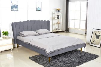 VALVERDE 160 - łóżko tapicerowane z zagłówkiem szare 53