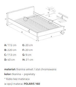 VALVERDE 160 - łóżko tapicerowane z zagłówkiem szare 3
