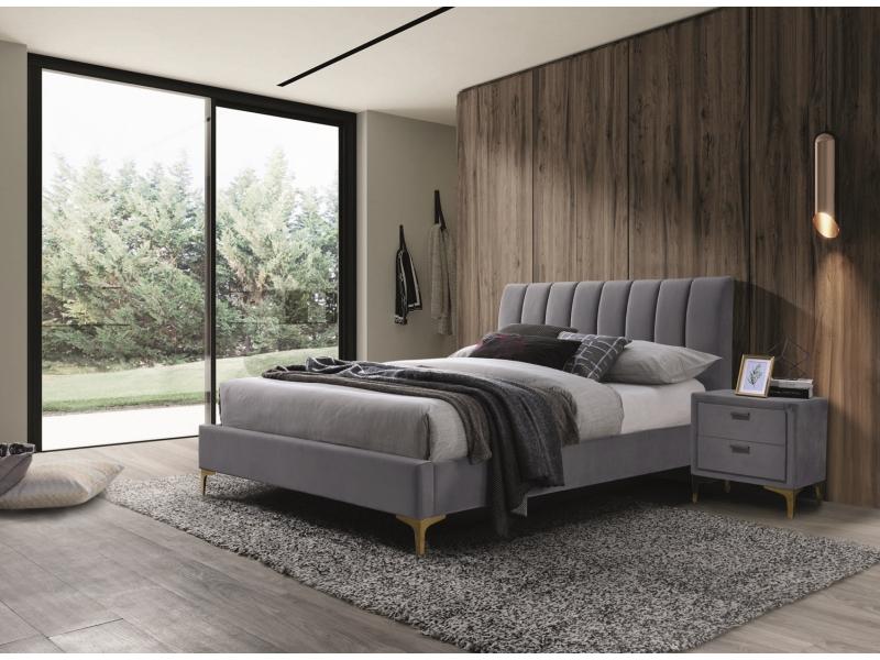 MIRAGE 160 - łóżko tapicerowane z zagłówkiem szare 2